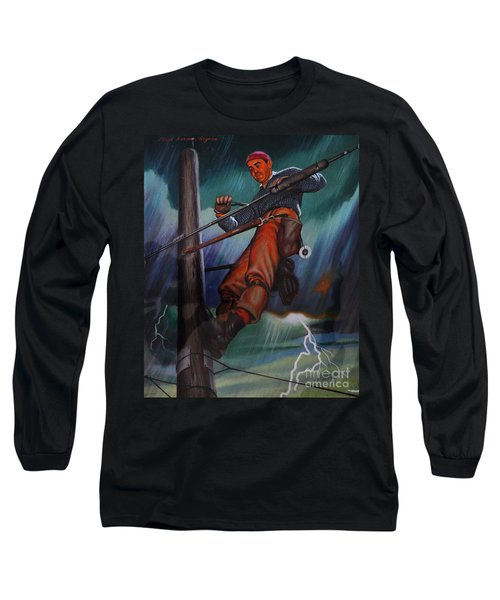 Lineman In Storm Long Sleeve T-Shirt