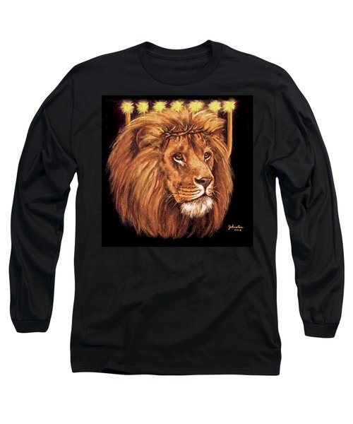Long Sleeve T-Shirt featuring the painting Lion Of Judah - Menorah by Bob and Nadine Johnston