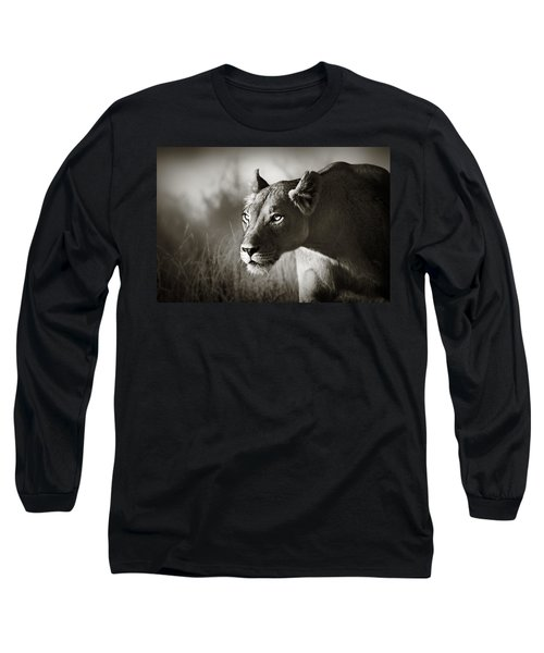 Lioness Stalking Long Sleeve T-Shirt by Johan Swanepoel
