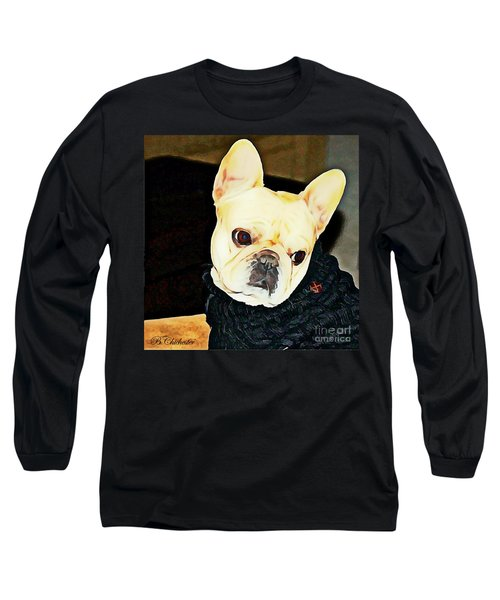 Long Sleeve T-Shirt featuring the painting Little Black Sweater by Barbara Chichester