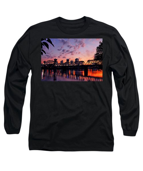 Long Sleeve T-Shirt featuring the photograph Little Rock Bridge Sunset by Mitchell R Grosky