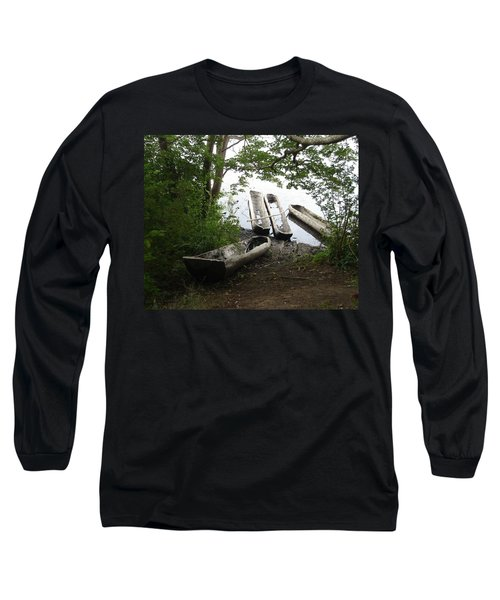 Long Sleeve T-Shirt featuring the photograph Log Canoes by Kerri Mortenson