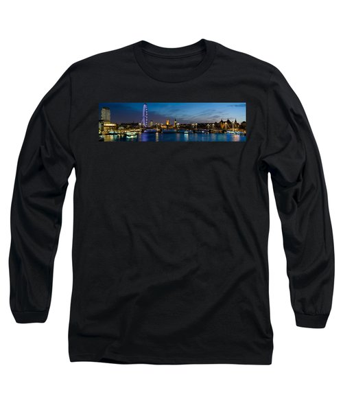 London Eye And Central London Skyline Long Sleeve T-Shirt by Panoramic Images