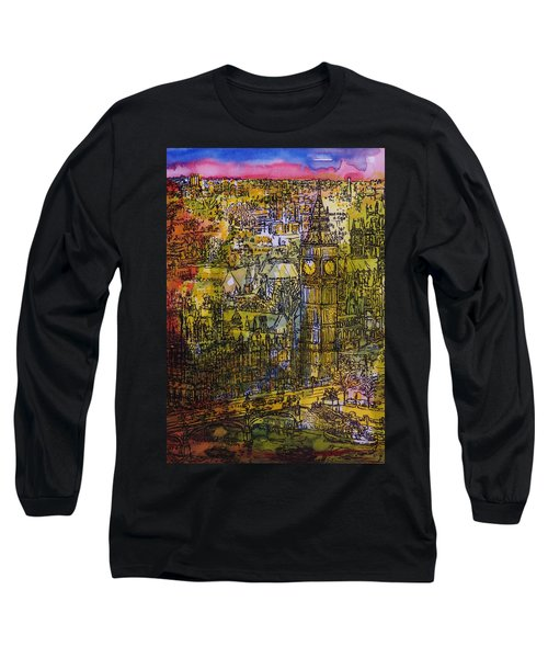 London, Westminster Pen & Ink With Wc On Paper Long Sleeve T-Shirt