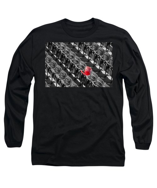 Long Sleeve T-Shirt featuring the photograph Lone Red Number 21 Fenway Park Bw by Susan Candelario