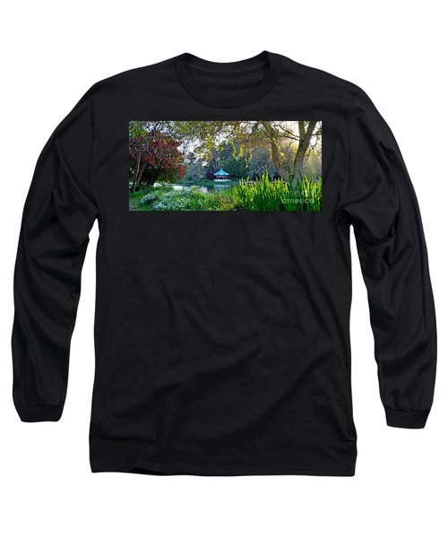 Long Sleeve T-Shirt featuring the photograph Looking Across Stow Lake At The Pagoda In Golden Gate Park by Jim Fitzpatrick