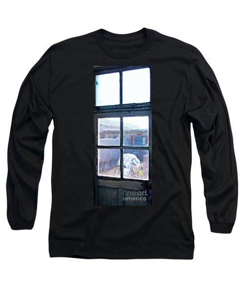 Long Sleeve T-Shirt featuring the photograph Looking Out The Kitchen Door In February by Ethna Gillespie