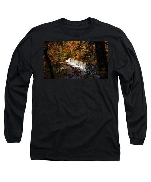 Looking Through Autumn Trees On To Waterfalls Fine Art Prints As Gift For The Holidays  Long Sleeve T-Shirt by Jerry Cowart