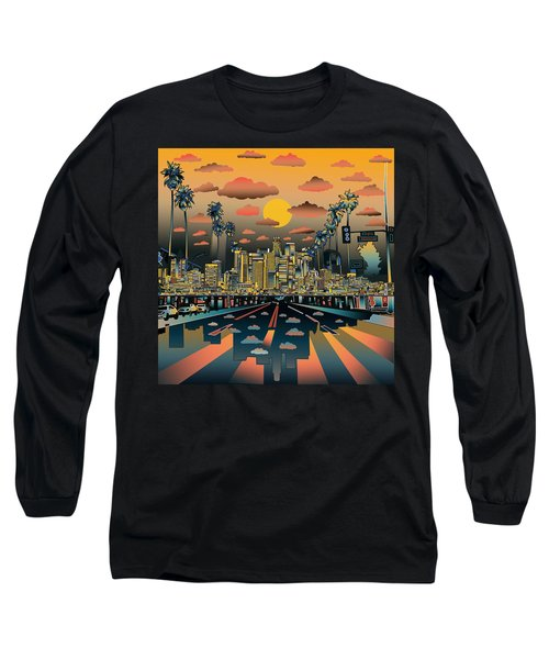Los Angeles Skyline Abstract 2 Long Sleeve T-Shirt by Bekim Art