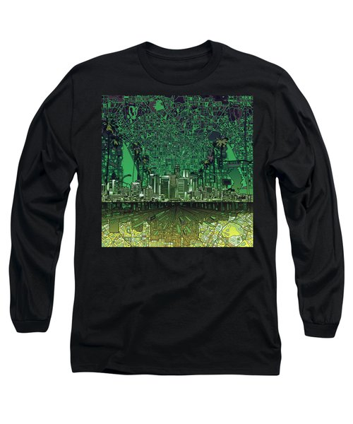 Los Angeles Skyline Abstract 6 Long Sleeve T-Shirt by Bekim Art
