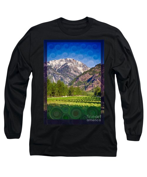Long Sleeve T-Shirt featuring the painting Lost River Airport Runway Abstract Landscape Painting by Omaste Witkowski