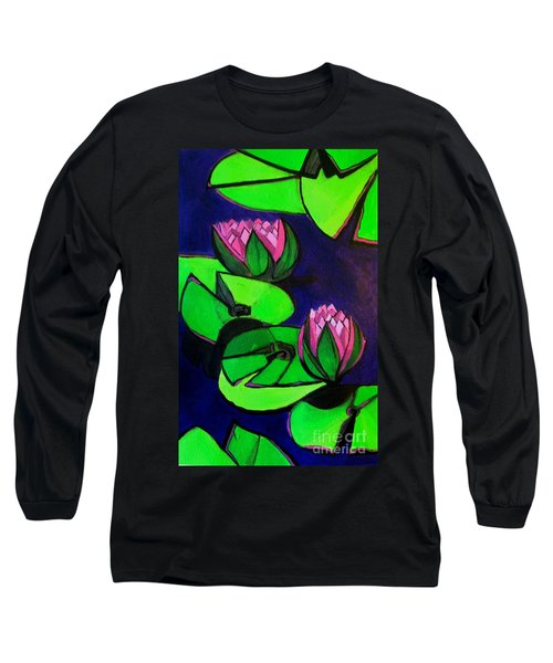 Lotus 2 Botanical Flowers Long Sleeve T-Shirt