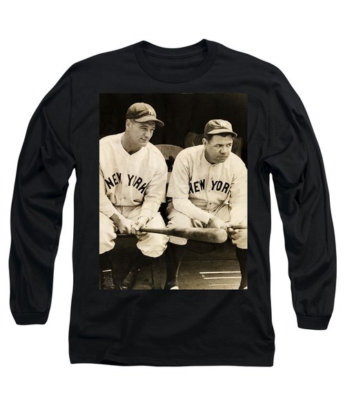 Lou Gehrig And Babe Ruth Long Sleeve T-Shirt by Bill Cannon