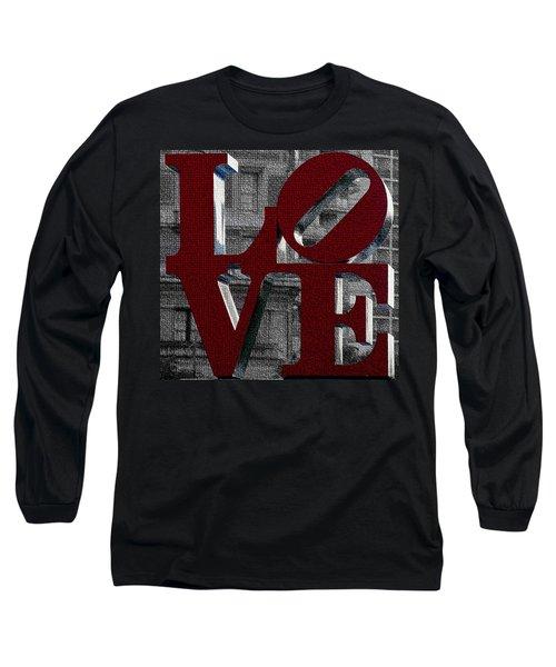 Love Philadelphia Red Mosaic Long Sleeve T-Shirt