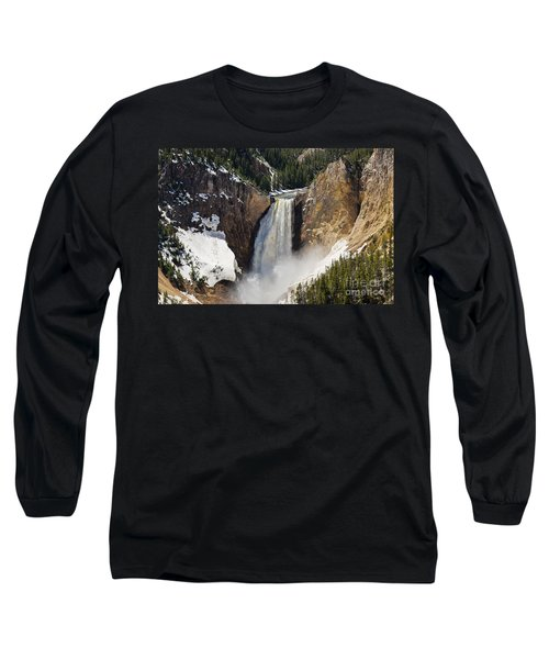 Long Sleeve T-Shirt featuring the photograph Lower Falls Of The Yellowstone by Sue Smith
