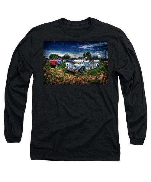 Long Sleeve T-Shirt featuring the photograph Mack Fire Truck And Graffiti Fire Truck by Ken Smith