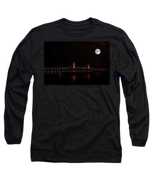Mackinac Bridge And Moon Long Sleeve T-Shirt
