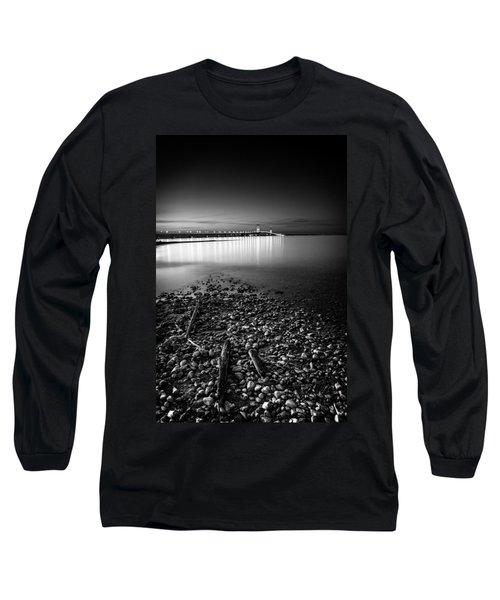 Mackinac Bridge Bw Long Sleeve T-Shirt by Larry Carr