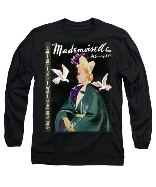 Mademoiselle Cover Featuring A Model In A Green Long Sleeve T-Shirt