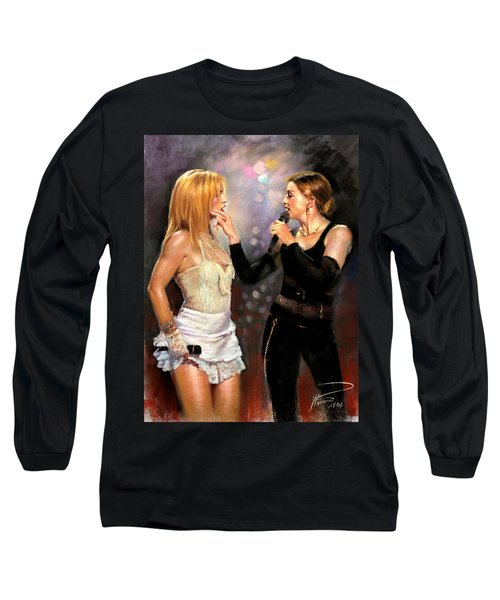 Madonna And Britney Spears  Long Sleeve T-Shirt by Viola El