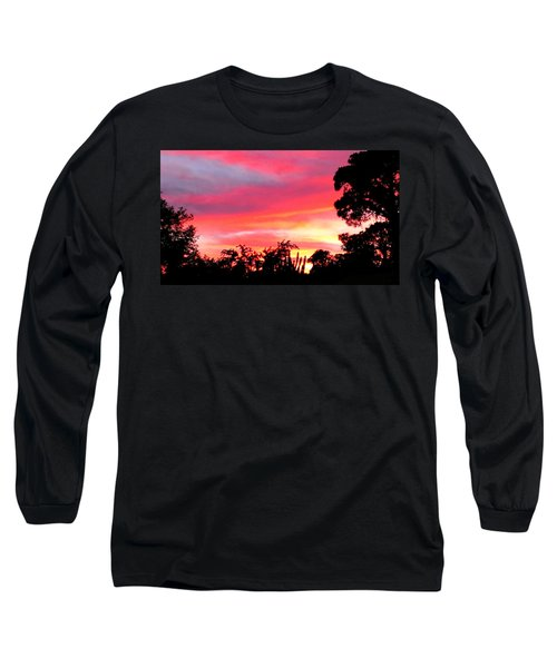 Long Sleeve T-Shirt featuring the photograph Magenta Sunset by DigiArt Diaries by Vicky B Fuller