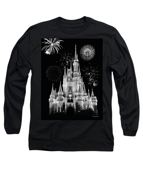 Magic Kingdom Castle In Black And White With Fireworks Walt Disney World Long Sleeve T-Shirt by Thomas Woolworth
