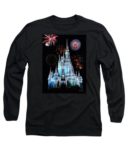 Magic Kingdom Castle In Frosty Light Blue With Fireworks 06 Long Sleeve T-Shirt by Thomas Woolworth