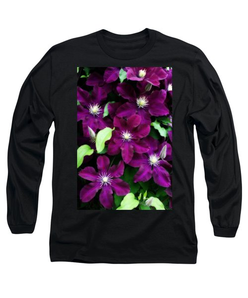 Majestic Amethyst Colored Clematis Long Sleeve T-Shirt by Kay Novy