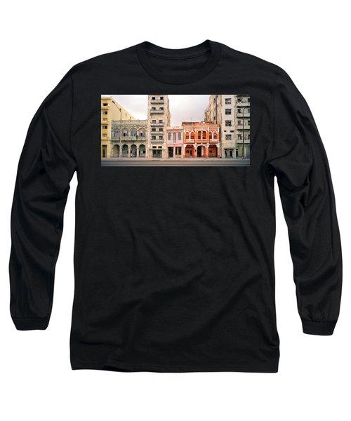 Malecon In Havana Long Sleeve T-Shirt by Shaun Higson