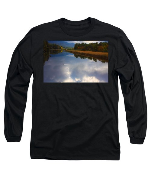 Long Sleeve T-Shirt featuring the photograph Mallard Duck On Lake In Adirondack Mountains In Autumn by Jerry Cowart