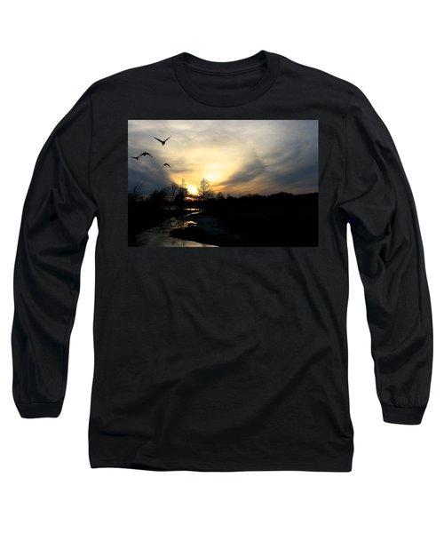 Mallards Silhouette At Sunset Long Sleeve T-Shirt