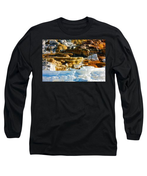Mammoth Hot Springs Rock Formation No1 Long Sleeve T-Shirt