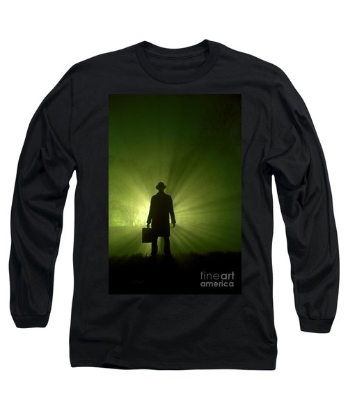 Long Sleeve T-Shirt featuring the photograph Man In Light Beams by Lee Avison