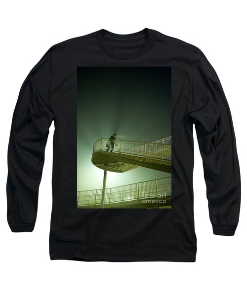 Long Sleeve T-Shirt featuring the photograph Man On Stairs With Case In Fog by Lee Avison