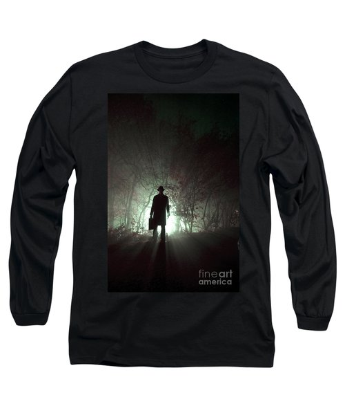 Long Sleeve T-Shirt featuring the photograph Man Waiting In Fog With Case by Lee Avison