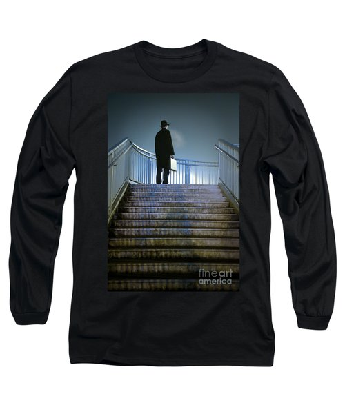 Long Sleeve T-Shirt featuring the photograph Man With Case At Night On Stairs by Lee Avison