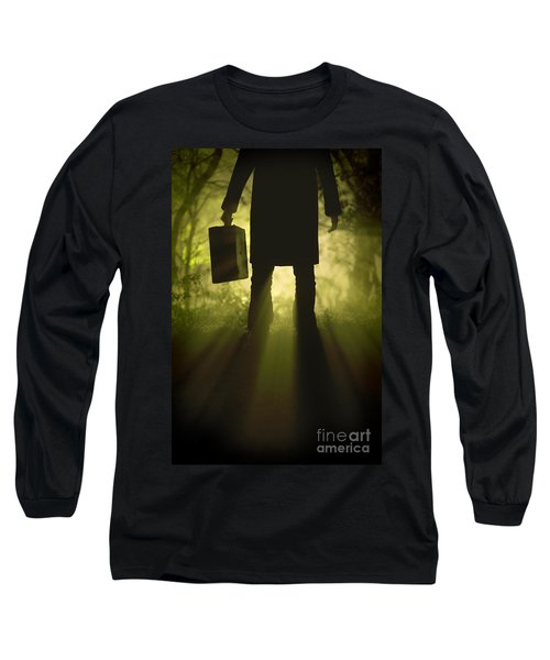 Long Sleeve T-Shirt featuring the photograph Man With Case In Fog by Lee Avison