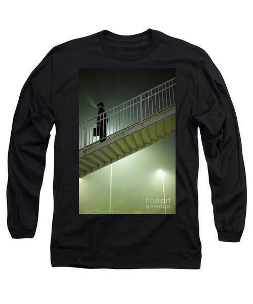 Long Sleeve T-Shirt featuring the photograph Man With Case On Steps Nighttime by Lee Avison