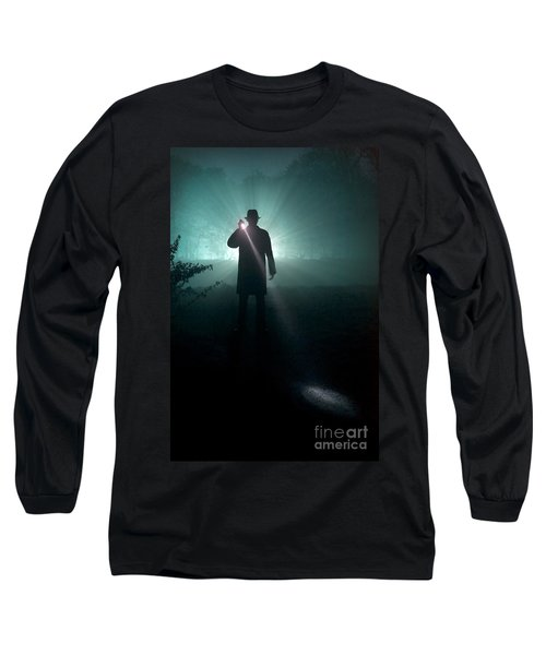 Long Sleeve T-Shirt featuring the photograph Man With Flashlight  by Lee Avison