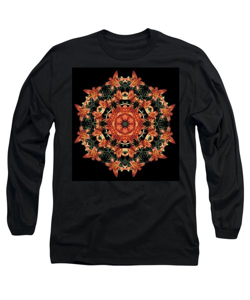 Long Sleeve T-Shirt featuring the photograph Mandala Daylily by Nancy Griswold