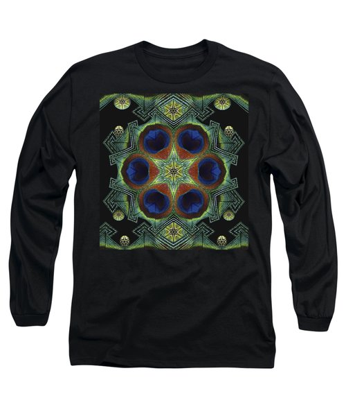 Long Sleeve T-Shirt featuring the digital art Mandala Peacock  by Nancy Griswold