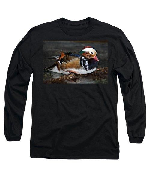 Mandarin Duck Long Sleeve T-Shirt by Suzanne Stout