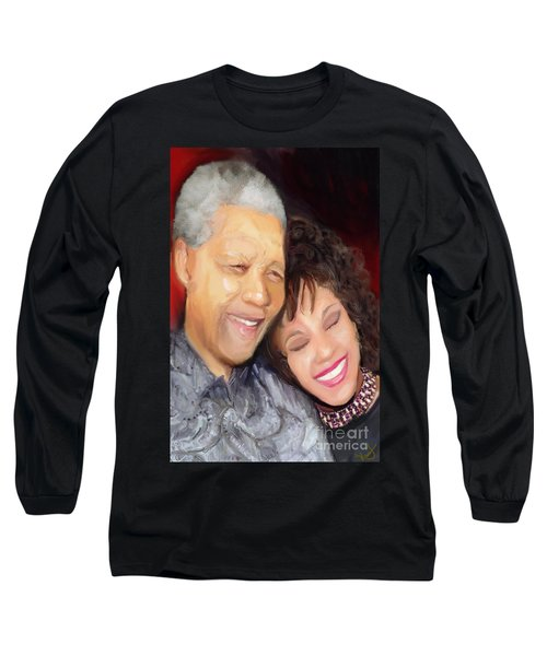 Long Sleeve T-Shirt featuring the painting Mandela And Whitney by Vannetta Ferguson