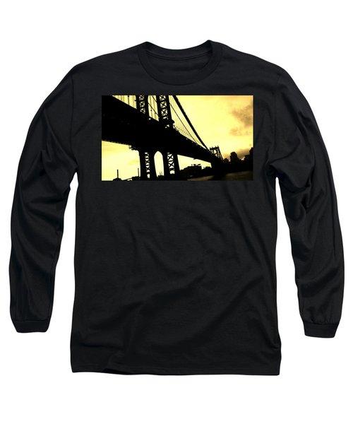 Manhattan Bridge Long Sleeve T-Shirt by Paulo Guimaraes