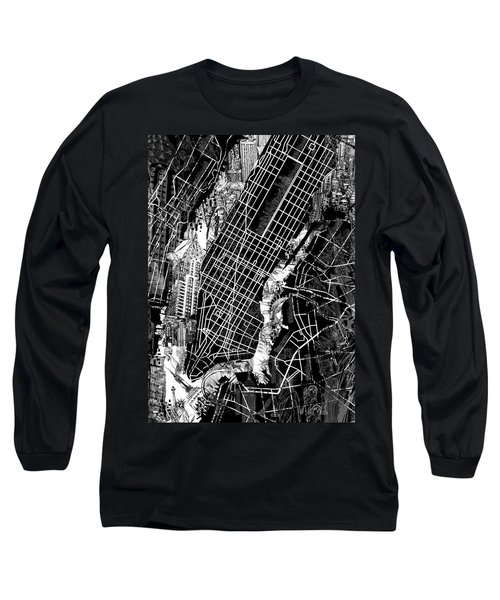 Manhattan Map Black And White Long Sleeve T-Shirt