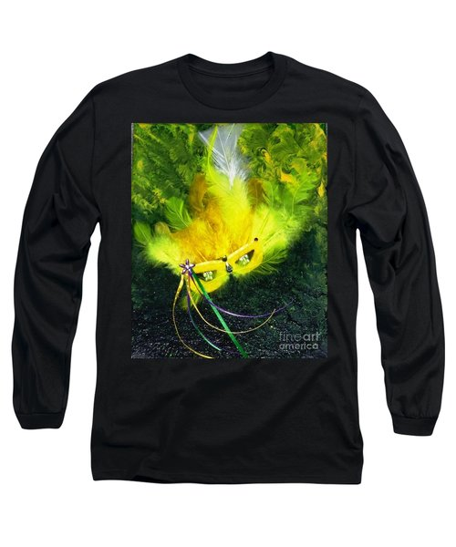 Long Sleeve T-Shirt featuring the painting Mardi Gras On Green by Alys Caviness-Gober