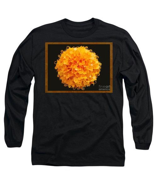 Long Sleeve T-Shirt featuring the painting Marigold Magic Abstract Flower Art by Omaste Witkowski