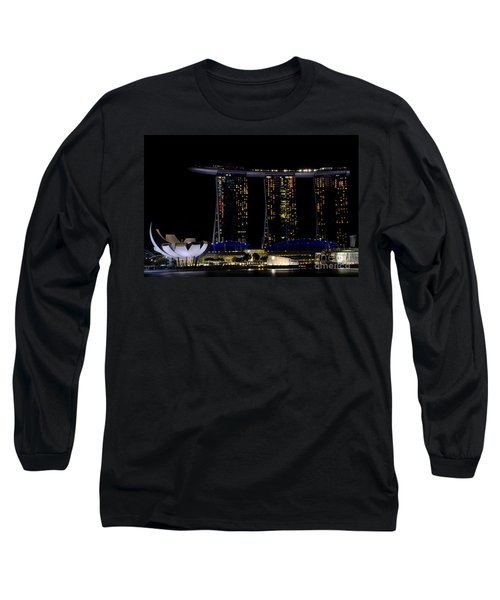 Marina Bay Sands Integrated Resort Hotel And Casino And Artscience Museum Singapore Marina Bay Long Sleeve T-Shirt by Imran Ahmed