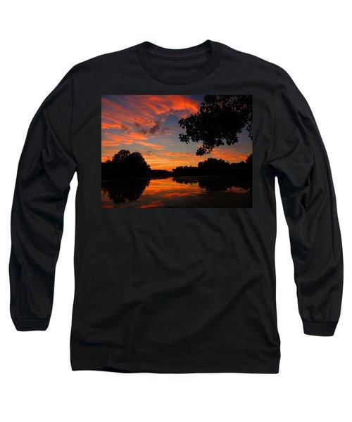Marlu Lake At Sunset Long Sleeve T-Shirt by Raymond Salani III