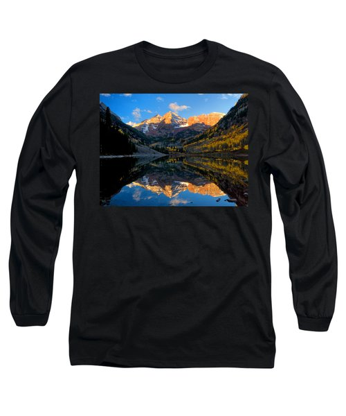 Maroon Bells Landscape Long Sleeve T-Shirt by Ronda Kimbrow